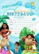 Disney Moana Birthday Party Invitations Kids Party Invitations x8 Cards-Thick + Envelopes