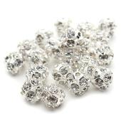 ALCYONEUS 30Pcs 6/8/10mm Shiny Rhinestone Spacer Loose Bead DIY Jewellery Making Accessories size 8mm