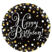 Sparkling Celebration Happy Birthday Prismatic Plates 23cm Paper Party