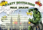 10 x Children Birthday Party Invitations Hulk