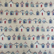 """Nautical Beach Hut Rows Design Cotton Rich Linen Look Fabric For Curtains Blinds Craft Quilting Patchwork & Upholstery 55"""" 140cm Wide – Sold by the Metre"""