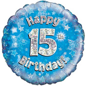 """Oaktree 46cm """" Happy 15Th Birthday Holographic Balloon Age 15 Party Decoration Blue"""
