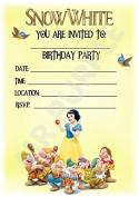 Disney Snow White Birthday Party Invites - Dwarf Portrait Design - Party Supplies / Accessories