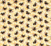Fat Quarter Bees Bee You Bug Me 100% Cotton Quilting Fabric Insects Honey