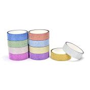 Eshylala 10 Rolls Glitter Washi Paper Adhesive Tape DIY Craft Sticker Masking Decor