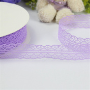 Arts Crafts Tape, Yunt 3cm Lace Trimmed Handwork DIY Ribbon Bowknot Flowers Gifts Supplies Packaging Sewing Ribbons Home Wedding DIY Decoration with Total Length of 50 Yards Purple