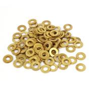 Unique Bargains 5mm x 10mm x 0.8mm Flat Ring Copper Sealing Washers Gold Tone 100 Pcs