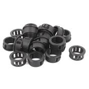 Unique Bargains 20pcs 20mmx16mm Black Plastic Cable Hose Harness Protective Snap Bushing Grommet