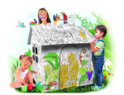 Spiritoy - My Little Jungle House, Large Corrugated Cardboard, Colouring Creative Crafts Play House Project for Kids - 0.9m Tall, Easy Assembly, Fast Fold
