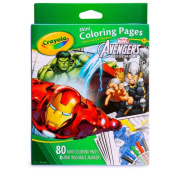 Crayola Avengers 80 Mini Colouring Pages with 6 Markers set For Boys