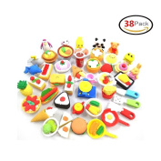 38 PCs Japanese Puzzle Kitchen Food Erasers Value Pack Puzzle Toys Best for Party Favours