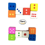 Dice Erasers,Pencil Erasers Rubber,Kid Party Favour Gift Toy, Assorted Colour,12 Pieces