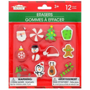 Christmas Themed Erasers, 12-ct. Pack