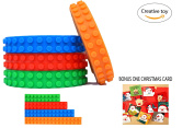 Building block tape rolls by Vilio - 100% food grade silicone, 4 colourful rolls 1m each - Give your kids many creative play ideas - Bonus one Christmas card