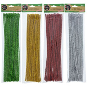 Crafter's Square Chrsitmas Colour Tinsel Stems, Pack of 4, Red, Green, Silver and Gold