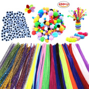 450Pcs Pom Poms Pipe Cleaners Chenille Stems DIY Art Craft Supplies Set , Including 200 Pcs 20 Colours Chenille Stems, 100 Pcs Pom Poms and 150 Pcs 3 Size Wiggle Googly Eyes