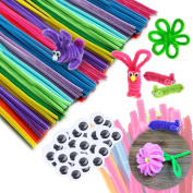 Yiphates 200 Pcs Creativity Pipe Cleaners Chenille Stem and Googly Eyes Crafting Kit for Kids DIY Art Supplies 10 Colours