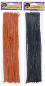 Crafter's Square Halloween Tinsel Stems, Pack of 2, Orange and Black, 90 Count
