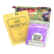 3 Piece Green Pansies Beauty Bag Gift Set Bundle Makeup Removing Cloth Hand Treatment