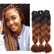 3 Pcs /300g 60cm Two Ombre Braiding Hair Synthetic Braid Hair Extensions Black+Red Brown