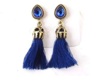 Royal Navy Blue Gold 1920s Vintage Style Earrings Drop Great Gatsby Stud 4555