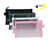 Zipper Pouch, 4PCS, Mesh Zipper Bags Clear Zipper Pouch Small Organiser bag Zipper Folder Bag Cosmetic Bags Travel Storage Bags, Size