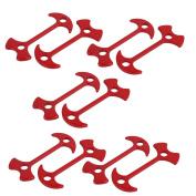 Unique Bargains 10pcs 78mm Length Aluminium Alloy Fishbone Stopper Anchor Tent Peg Red