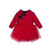 BIG ELEPHANT Baby Girls'Chinese Style Long/Short Sleeve Embroidered Lace Tutu Dress O86