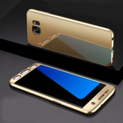 Case for Samsung Galaxy S7 edge Samsung G935, Ukayfe Luxury 3 in 1 Hybrid PC Impact Anti-Slip Shockproof Hard Protective Fullbody Mirror Cover for Samsung Galaxy S7 edge Samsung G935-360°Gold