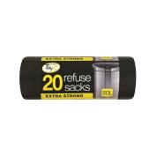Tidyz Tidy z EXTRA STRONG Heavy Duty 20 Black Refuse Sacks 50 Litre For Home/Kitchen/Office/Garage/Garden/Workshop