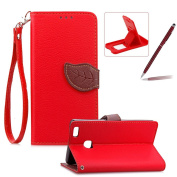 Strap Leather Case for Huawei P9 Lite,Red Wallet Flip Cover for Huawei P9 Lite,Herzzer Classic Unique Magnetic Leaf Buckles Design Full Body Card Slots Stand Folio Synthetic Leather Case with Soft Silicone
