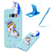 Soft TPU Case for Samsung Galaxy S8 Plus,3D Flexible Rubber Case for Samsung Galaxy S8 Plus,Herzzer Premium Stylish Blue Unicorn Printed Slim Fit Shockproof Scratch Resist Silicone Bumper Back Cover