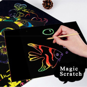 Baokee®16K 10 Sheets Magic Scratch Art Painting Paper With Drawing Stick Kids Toy