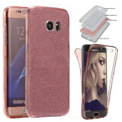 Sycode 360 Degree Bling Case for Huawei P8 Lite,Full Body Glitter Case for Huawei P8 Lite,Front and Back Full Body TPU Silicone Gel Clear Transparent Ultra Slim Protective Shockproof Rubber Slim Fit Crystal Clear Case Cover for Huawei P8 Lite-Rose Gold