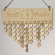 Wood DIY Calendar Family Friends Birthday Reminder Plaque Sign Board Home Decor