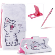 Strap Leather Case for Samsung Galaxy J3 2016 J320,Flip Portable Carrying Case for Samsung Galaxy J3 2016 J320,Herzzer Premium Stylish Cute Kitten Printed Foldable Full Body Folio Pu Leather Stand Cover with Card Slots