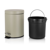 Round Step Trash Can with Lids, Homikit Stainless Steel Garbage Can for Kitchen Bathroom Office, 6L Brown
