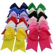 QtGirl 12pcs 18cm Large Jumbo Cheer Hair Bows with Alligator Hair Clips for Cheerleading Girls Teens