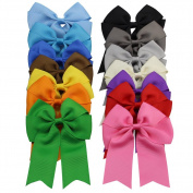 QtGirl 14pcs 10cm Cheerleader Hair Bows with Clips for Baby Girls Teens Women