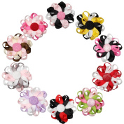 QtGirl 10 Pieces 7.5cm Flower Shape Loopy Hair Bows Clips for Girls Baby