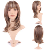 Wigs for Women Long Heat Resistant Synthetic Hair Full Wigs Natural Daily Costume Anime 34cm Braun/Blonde