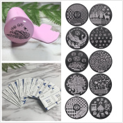 Frenshion 10Pcs Random Differernt Design Stamping Art Nail Stamping Kit Set Frosted Handle Template Image Plate Nail Art Tool 50 Pcs Remove Makeup Cotton Colour Pink