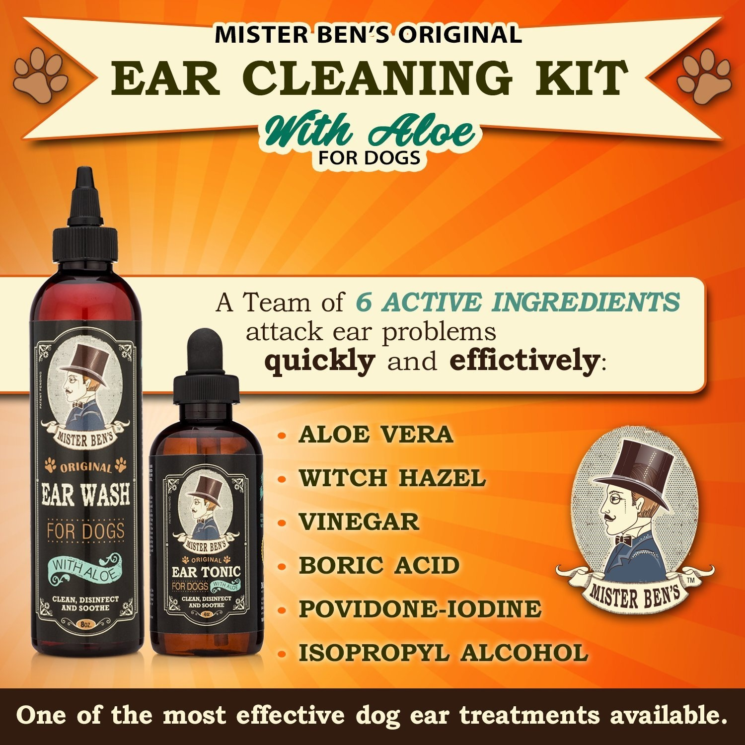 MOST EFFECTIVE DOG EAR CLEANING KIT - Mister Ben's Original Ear Tonic &  Wash w/Aloe - Provides FAST RELIEF from Dog Ear Infections, Irritations,
