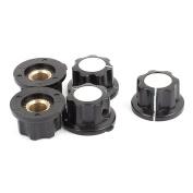 Black Plastic Ribbed Grip 6mm Shaft Potentiometer Control Rotary Knob Cap 5 Pcs
