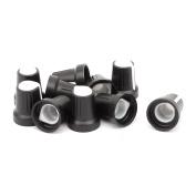 10 Pcs Black Knob w White Pointer 6mm Knurled Shaft Hole for Potentiometer