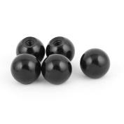 Plastic M8 x 28mm Thread 30mm Diameter Round Ball Lever Knob Black 5Pcs