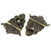 100mmx80mm Retro Style Bronze Tone Jewellery Box Drawer Hasp Lock Latch 2pcs