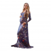 Brezeh Maternity Dress Women Off-Shoulder Long Sleeve Pregnancy Maxi Dress Floral Pregnancy Nursing Dress Photography Photo Shoot Maternity Party Dress