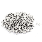 Unique Bargains Oval Aluminium Sleeves Clamps Silver Tone 100pcs for 0.5mm Wire Rope Swage Clip