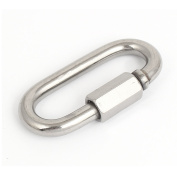 Unique Bargains 8mm Thickness Stainless Steel Quick Oval Screwlock Link Lock Carabiner